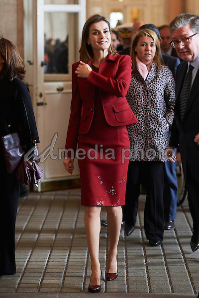10 February 2016 - Madrid, Spain - Queen Letizia during the presentation of the elimination of the architectural barriers and improvements of the Royal Palace in Madrid. Photo Credit: face to face/AdMedia