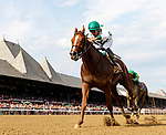 Promises Fulfilled (no. 2), ridden by Luis Saez. and trained by Dale Romans, wins the Amsterdam Stakes at Saratoga Racecourse, Saratoga Springs.   The winner finished 3 ¼ lengths ahead of Engage (no. 3) in the 6 ½ Furlong race against five opponents.  (Bruce Dudek/Eclipse Sportswire)