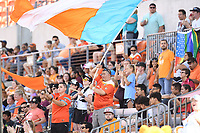 Houston, TX - Saturday May 13, 2017: Houston Dash fans celebrate after the team scored a goal during a regular season National Women's Soccer League (NWSL) match between the Houston Dash and Sky Blue FC at BBVA Compass Stadium. Sky Blue won the game 3-1.