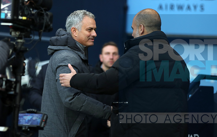 Jose Mourinho manager of Manchester United  and Manchester City Manager Pep Guardiola during the English Premier League match at The Etihad Stadium, Manchester. Picture date: April 27th, 2016. Photo credit should read: Lynne Cameron/Sportimage