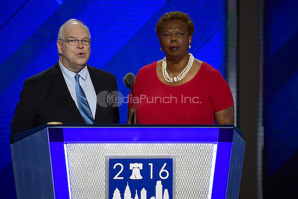 Co-Chairs of the Credentials Committee James Roosevelt, Jr., left, and Lorraine Miller, right, make remarks at the 2016 Democratic National Convention at the Wells Fargo Center in Philadelphia, Pennsylvania on Monday, July 25, 2016.<br /> Credit: Ron Sachs / CNP/MediaPunch<br /> (RESTRICTION: NO New York or New Jersey Newspapers or newspapers within a 75 mile radius of New York City)