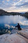 Hiker at Upper Kinney Lake, Toiyabe National Forest, California