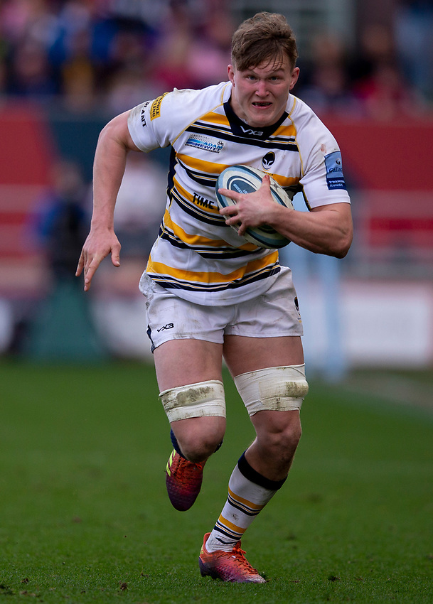 Worcester's Ted Hill<br /> <br /> Photographer Bob Bradford/CameraSport<br /> <br /> Gallagher Premiership - Bristol Bears v Worcester Warriors - Saturday 23rd March 2019 - Ashton Gate - Bristol<br /> <br /> World Copyright © 2019 CameraSport. All rights reserved. 43 Linden Ave. Countesthorpe. Leicester. England. LE8 5PG - Tel: +44 (0) 116 277 4147 - admin@camerasport.com - www.camerasport.com