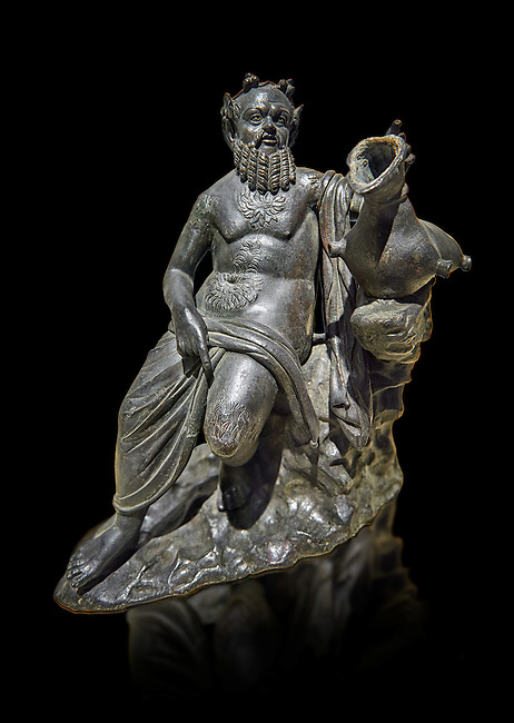 Roman Bronze sculpture of Silenus from atrium of the Villa of the Papyri in Herculaneum, Museum of Archaeology, Italy, black background
