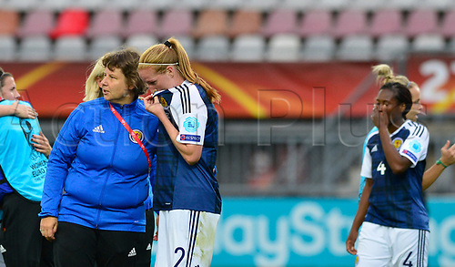 July 23rd 2017, Sparta Stadion, Rotterdam, Netherlands; Womens Euro 2017 Finals, Group D Match; Scotland versus Portugal;  AnnHelen Grahm consoles Vailia Barsely as Scotland lose by a score of 2-1