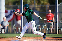 Dartmouth Big Green right fielder Kyle Holbrook (9) hits a single during a game against the Northeastern Huskies on March 3, 2018 at North Charlotte Regional Park in Port Charlotte, Florida.  Northeastern defeated Dartmouth 10-8.  (Mike Janes/Four Seam Images)