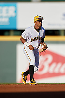 Bradenton Marauders shortstop Adrian Valerio (14) during a game against the Tampa Tarpons on April 25, 2018 at LECOM Park in Bradenton, Florida.  Tampa defeated Bradenton 7-3.  (Mike Janes/Four Seam Images)