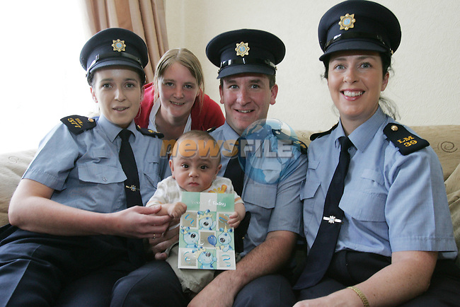 First Birthday for Dylan McMahon, celebrated with his Mam Audrey and the Garda that helped deliver him, Mary Farrell, Brian Dolan and Catherine Rennick..Photo: Newsfile/Fran Caffrey.
