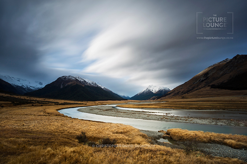 The wonderful and moody Ahuriri river captured beautifully by Wanaka landscape photographer, Christopher David Thompson.
