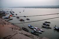 Boats on river Ganges in Varanasi, Uttar Pradesh, India.