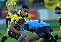 Hurricanes' Ngani Laumape in action during the Super Rugby quarterfinal between the Hurricanes and Bulls at Westpac Stadium in Wellington, New Zealand on Saturday, 22 June 2019. Photo: Dave Lintott / lintottphoto.co.nz