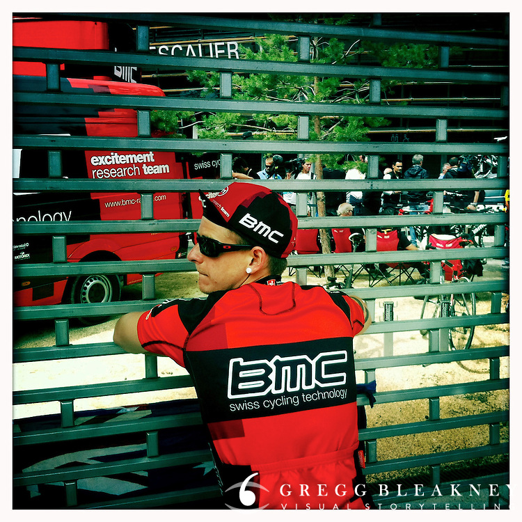 A BMC fans dissapointed that the team buses were gated off to spectators before the 2011 Tour de France - Stage 20 Time Trial - Grenoble, France
