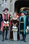 Eric Emmanuel Schmitt herald for the Brussels Ommegang pageant representing the arrival of Charles V in Brussels. Each year the pageant brings together over 1,200 extras in period outfits on the Grand Place in Brussels. Eric Emmanuel Smith participated in this event as a herald and commentator. Brussels, 30 June 2015, Belgium<br /> Pics: Bert Kruisman humorist, Jo Lemaire presentation, Eric Emmanuel Schmitt the presentators in 3 languages