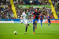 VALENCIA, SPAIN - SEPTEMBER 11: Andreolli and Feddal during BBVA LEAGUE match between Levante U.D. And Sevilla C.F. at Ciudad de Valencia Stadium on September 11, 2015 in Valencia, Spain