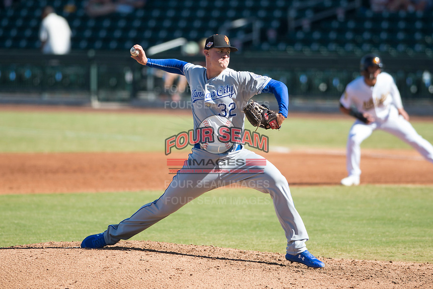 Surprise Saguaros starting pitcher Scott Blewett (32), of the Kansas City Royals organization, delivers a pitch during an Arizona Fall League game against the Mesa Solar Sox at Sloan Park on November 1, 2018 in Mesa, Arizona. Surprise defeated Mesa 5-4 . (Zachary Lucy/Four Seam Images)