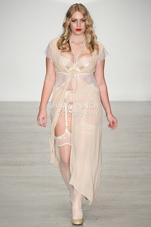 Model walks runway in lingerie from the Harlow & Fox collection by Leanna Williams, for the Lingerie Fashion Week SS15 Official Closing Show, during LingerieFW Spring Summer 2015.