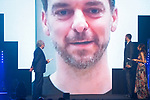 CEO of Endesa Jose Bogas and player Marc Gasol (r) watch a video message of Pau Gasol during the first edition of Spanish Basketball Awards. July 25, 2019. (ALTERPHOTOS/Francis Gonzalez)
