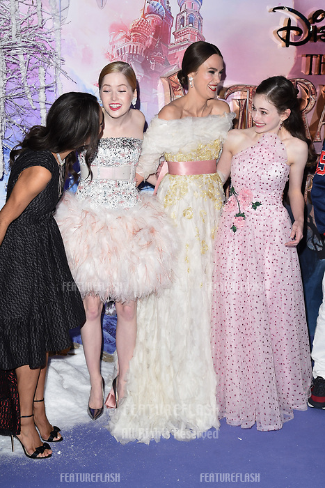 """LONDON, UK. November 01, 2018: Misty Copeland, Ellie Bamber, Keira Knightley & Mackenzie Foy at the premiere of """"The Nutcracker and the Four Realms"""" at the Vue Westfield, London.<br /> Picture: Steve Vas/Featureflash"""