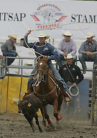 26 Aug 2010:  Hunter Herrin was not able to score a time in the slack Tie Down Roping competition at the Kitsap County Stampede Wrangle Million Dollar PRCA Silver Rodeo Tour Bremerton, Washington.
