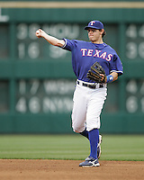 Texas Rangers 2B Ian Kinsler against the Seattle Mariners on May 14th, 2008 at Texas Rangers Ball Park in Arlington, Texas. Photo by Andrew Woolley .