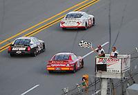 Apr. 24, 2009; Talladega, AL, USA; ARCA RE/MAX Series driver Justin Lofton (6) takes the checkered flag to win the RE/MAX 250 at the Talladega Superspeedway. Mandatory Credit: Mark J. Rebilas-