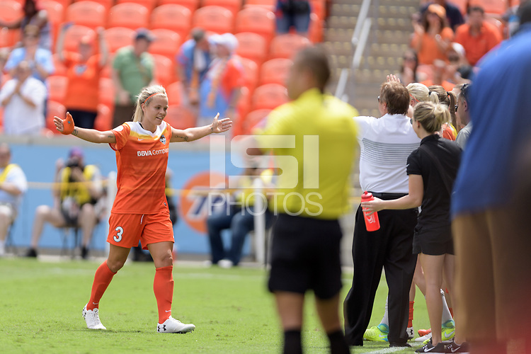 Houston, TX - Saturday April 15, 2017: Rachel Daly celebrates her first goal during a regular season National Women's Soccer League (NWSL) match won by the Houston Dash 2-0 over the Chicago Red Stars at BBVA Compass Stadium.