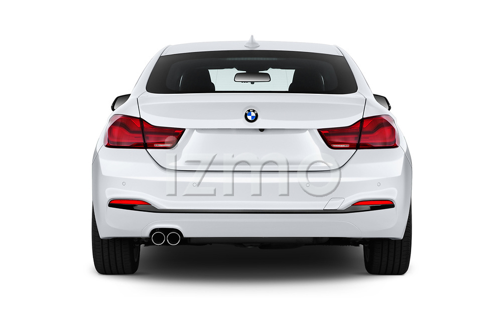 Straight rear view of a 2018 BMW 4 Series Gran Coupe 2wd 430i 5 Door Hatchback stock images