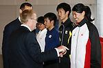 L-R<br /> John Coates IOC Vice President,<br />  2014U19Kaya Aoki,<br />  2013Takatomo Furumai,<br />  2013Takumi Shiga,<br />  Haruna Sakakibara,<br /> APRIL 3, 2014 : IOC committee members inspected the athletes village, Koji Murofushi director, Yoichi Masuzoe Tokyo governor  and U23 Rowing national team's member was welcomed at Harumi Port Terminal in Tokyo, Japan. (Photo by AFLO SPORT)