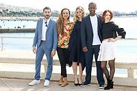 Dimitri Leonidas, Lena Olin, Julia Stiles, Adrian Lester et Roxane Duran posent lors du photocall de RIVIERA pendant le MIPTV a Cannes, le lundi 3 avril 2017.