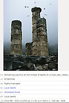 Remaining columns at the temple of Apollo on a misty day, Delphi, Greece