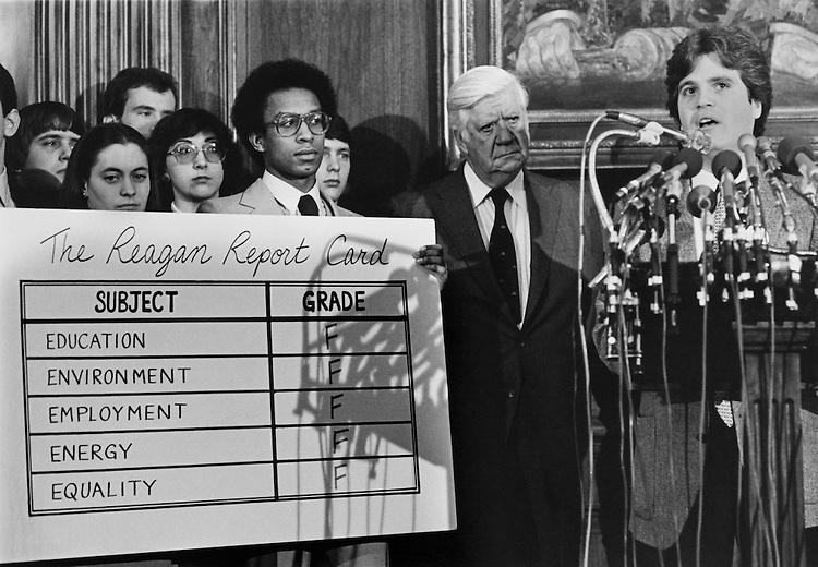 """Speaker of the House, Rep. Thomas Phillip """"Tip"""" O'Neill, House Majority Leader and other party member standing with a large report card. (Photo by Keith Jewell/CQ Roll Call)"""
