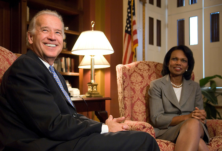 Secretary of State Condoleezza Rice meets with Senate Foreign Relations chairman Joe Biden, D-Del., in the U.S. Capitol on Wednesday, July 18, 2007, to discuss Iraq and a number of other issues.