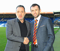 New Luton Town Manager Nathan Jones and Gary Sweet Chief Executive officer of Luton Town during an Open Media session at Kenilworth Road, Luton, England on 7 January 2016. Photo by Liam Smith / PRiME Media Images