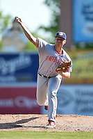 Hagerstown Suns pitcher Jake Johansen (36) delivers a pitch during a game against the Lexington Legends on May 19, 2014 at Whitaker Bank Ballpark in Lexington, Kentucky.  Lexington defeated Hagerstown 10-8.  (Mike Janes/Four Seam Images)