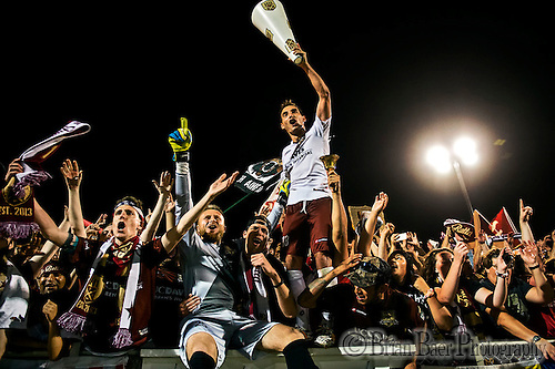 Sacramento Republic Football Club' players celebrate in the crowd their 3-2 win over the LA Galaxy II in the second round of the USL Pro playoff at Bonney Field, Saturday September 20, 2014.<br /> Brian Baer/Special to the Bee (Brian Baer)
