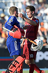 GER - Mannheim, Germany, May 27: During the men semi-final match between Rot-Weiss Koeln and Harvestehuder THC at the Final4 tournament May 27, 2017 at Am Neckarkanal in Mannheim, Germany. (Photo by Dirk Markgraf / www.265-images.com) *** Local caption *** Victor (GK) ALY #30 of Rot-Weiss Koeln, Moritz TROMPERTZ #10 of Rot-Weiss Koeln