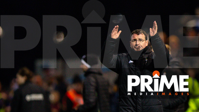 Bradford City manager Gary Bowyer is met with boos as he claps the travelling fans after his sides 3-0 defeat during the Sky Bet League 2 match between Mansfield Town and Bradford City at the One Call Stadium, Mansfield, England on 25 January 2020. Photo by Thomas Gadd.