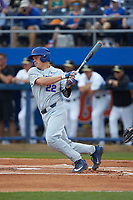 JJ Schwarz (22) of the Florida Gators follows through on his swing against the Wake Forest Demon Deacons in Game Two of the Gainesville Super Regional of the 2017 College World Series at Alfred McKethan Stadium at Perry Field on June 11, 2017 in Gainesville, Florida.  (Brian Westerholt/Four Seam Images)