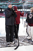 Jerry York (BC - Head Coach) -  - The participating teams in Hockey East's first doubleheader during Frozen Fenway practiced on January 3, 2014 at Fenway Park in Boston, Massachusetts.