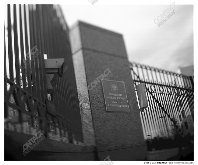Portrait of a spy - The main gate of the Russian Embassy compound on a hilltop in Washington D.C., March 5, 2001....