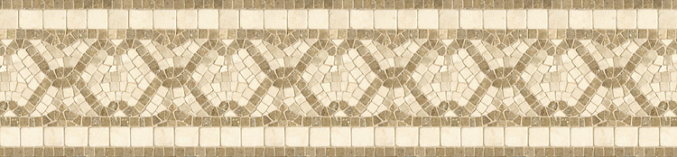 "9 3/8"" Umbrian Twist border, a hand-cut stone mosaic, shown in tumbled Travertine Noce, and Botticino."