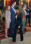 Princess Letizia of Spain, Prince Felipe of Spain, Queen Sofia of Spain, Juan carlos I King of Spain and Soraya Rodriguez Socialist Party parliamentary spokeswoman attend the Royal Palace reception on the National Military Parade.October 12,2012.(ALTERPHOTOS/Pool)