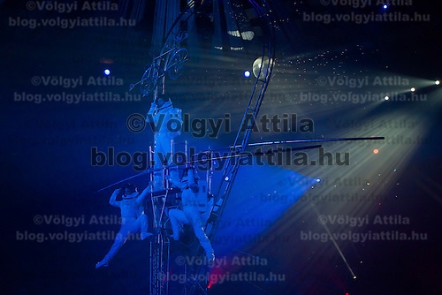 Laszlo Simet of Hungary and his partners perform their Golden Pierrot Award winning semaphore act during the 10th International Circus Festival in Budapest, Hungary on January 13, 2014. ATTILA VOLGYI