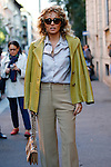 Valeria Golino (Coppa Volpi 2015) arrives at the Prada fashion shows as part of the Milan's Fashion Week Women's wear Spring/Summer 2016, in Milan on September 24, 2015.
