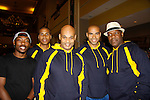 "Lamar K. Cheston - Jeantique Oriol - Melvin Huffnagle - Delano Barbosa - Thaddeus Daniels - The National Black Theatre Festival during the full week of August 8, 2015 - The Layon Gray American Theatre Company presents ""Kings of Harlem"" written and directed by Layon Gray and starring him and the cast - Melvin Huffnagle, Thaddeus Daniels, Lamar K. Cheston, Delano Barbosa, Jeantique Oriel and Ade Otukoya with performances at the festival. These photos are from the rehearsal at the Haynes Hosery Recreation Center, Winston-Salem, NC. The festival is an International Celebration and Reunion of Spirit. (Photo by Sue Coflin/Max Photos)"