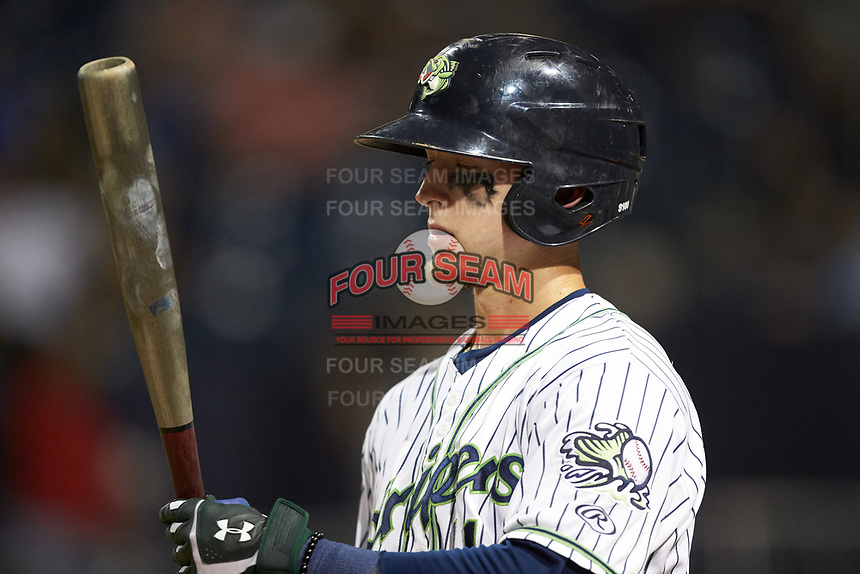 Drew Waters (11) of the Gwinnett Stripers prepares to hit during the game against the Scranton/Wilkes-Barre RailRiders at BB&T BallPark on August 17, 2019 in Lawrenceville, Georgia. The Stripers defeated the RailRiders 8-7 in eleven innings. (Brian Westerholt/Four Seam Images)