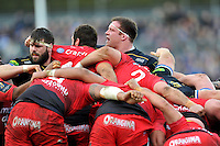 A general view at a scrum. European Rugby Champions Cup match, between Bath Rugby and RC Toulon on January 23, 2016 at the Recreation Ground in Bath, England. Photo by: Patrick Khachfe / Onside Images