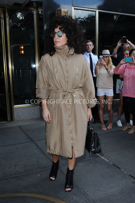 WWW.ACEPIXS.COM <br /> July 28, 2014 New York City<br /> <br /> Lady Gaga leaving her apartment on June 28, 2014 in New York City.<br /> <br /> Please byline: Kristin Callahan/ACE Pictures<br /> <br /> ACEPIXS.COM<br /> Ace Pictures, Inc<br /> tel: (212) 243 8787 or (646) 769 0430<br /> e-mail: info@acepixs.com<br /> web: http://www.acepixs.com