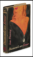 BNPS.co.uk (01202)558833<br /> Pic:  SwannAuctionGalleries/BNPS<br /> <br /> Diamonds Are Forever, first edition, 1956. Estimate $1,500 to $2,500.<br /> <br /> A single owner collection of historic James Bond first editions inscribed by Ian Fleming have emerged for sale for £55,000. ($70,000)<br /> <br /> The marquee lot is a first edition of Goldfinger (1959) given by the author to legendary golfer Sir Henry Cotton, who won The Open three times.<br /> <br /> Fleming references the chapters containing the classic golf match between Bond and the villain Auric Goldfinger, whose caddy was Oddjob, in the book.<br /> <br /> The collection of 13 books is being sold by a private collector with US based Swann Auction Galleries.