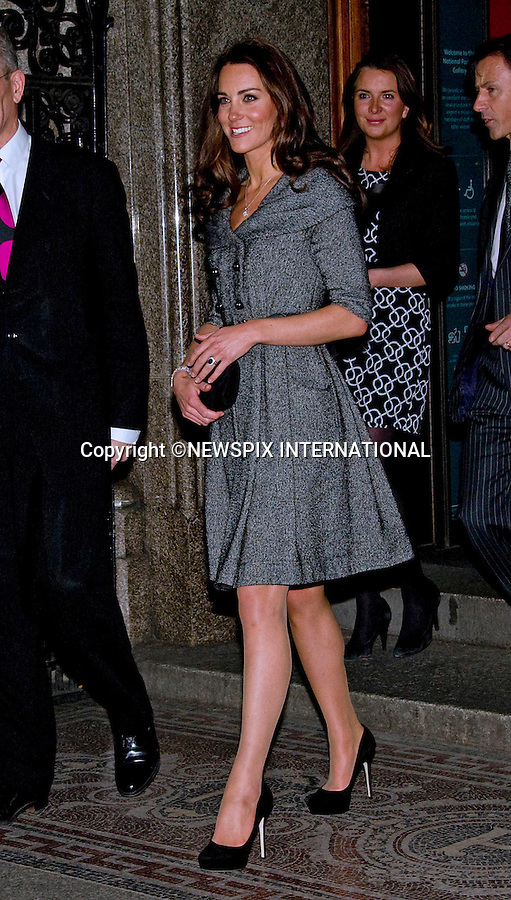 """KATE'S 1ST SOLO ROYAL ENGAGEMENT.Catherine, Duchess of Cambridge. Patron, carried out her first solo Royal engagement when she visited the National Portrait Gallery's Lucian Freud Portraits exhibition, London_08/02/2012.Prince William is away on a six week tour with the RAF Search and Rescue in the Falkland Islands..Mandatory Credit Photo: ©Dias/NEWSPIX INTERNATIONAL..Please telephone : +441279324672 for usage fees..**ALL FEES PAYABLE TO: """"NEWSPIX INTERNATIONAL""""**..IMMEDIATE CONFIRMATION OF USAGE REQUIRED:.Newspix International, 31 Chinnery Hill, Bishop's Stortford, ENGLAND CM23 3PS.Tel:+441279 324672  ; Fax: +441279656877.Mobile:  07775681153.e-mail: info@newspixinternational.co.uk"""